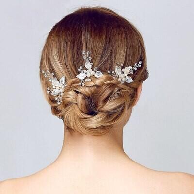 Vintage Brushed Leaf Crystal Pearl Hair Pin