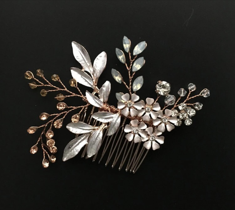 Rose Gold Brushed Leaf Floral Crystal Opal Hair Comb