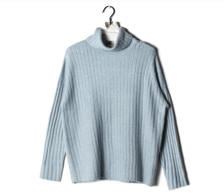 Soft Shiny Ribbed Turtleneck Sweater
