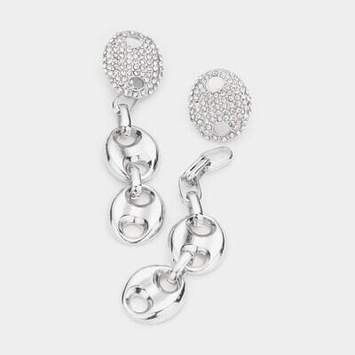 Rhinestone Embellished Abstract Metal Link Dangle Earrings