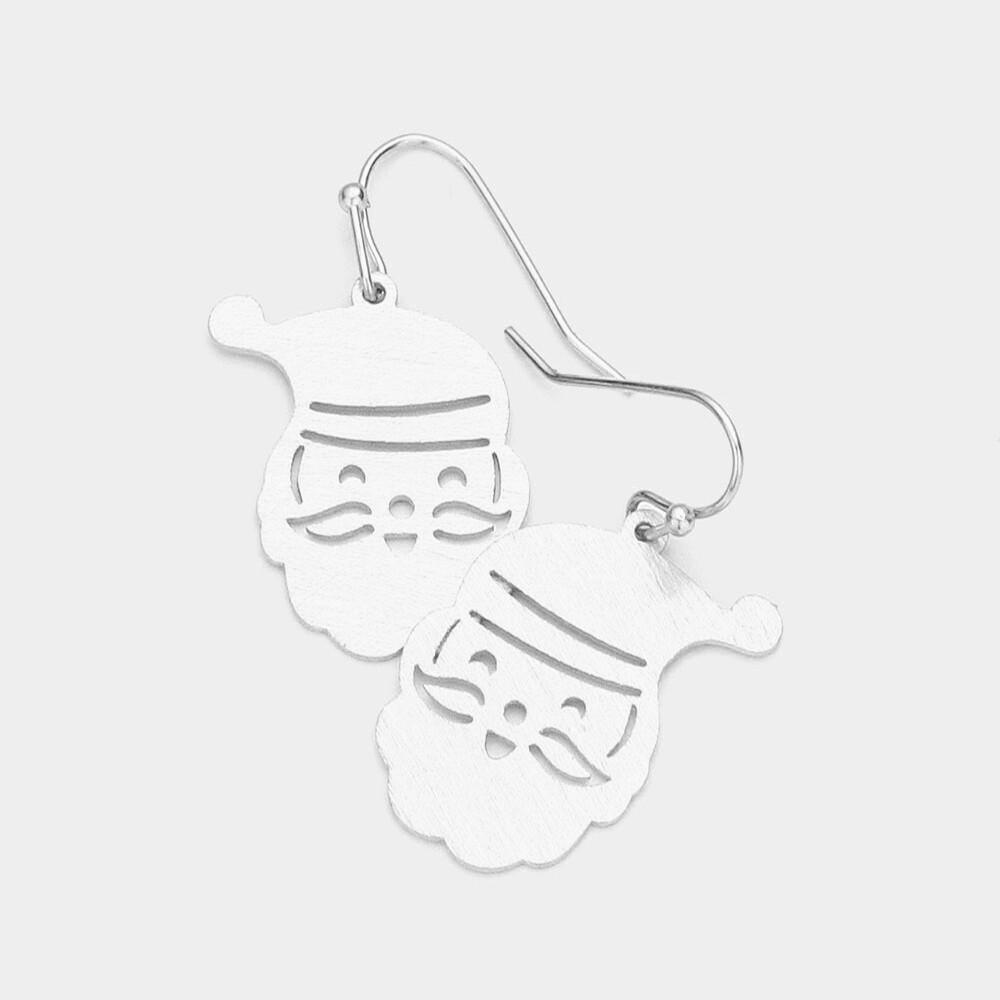 Brass Metal Santa Claus Dangle Earrings
