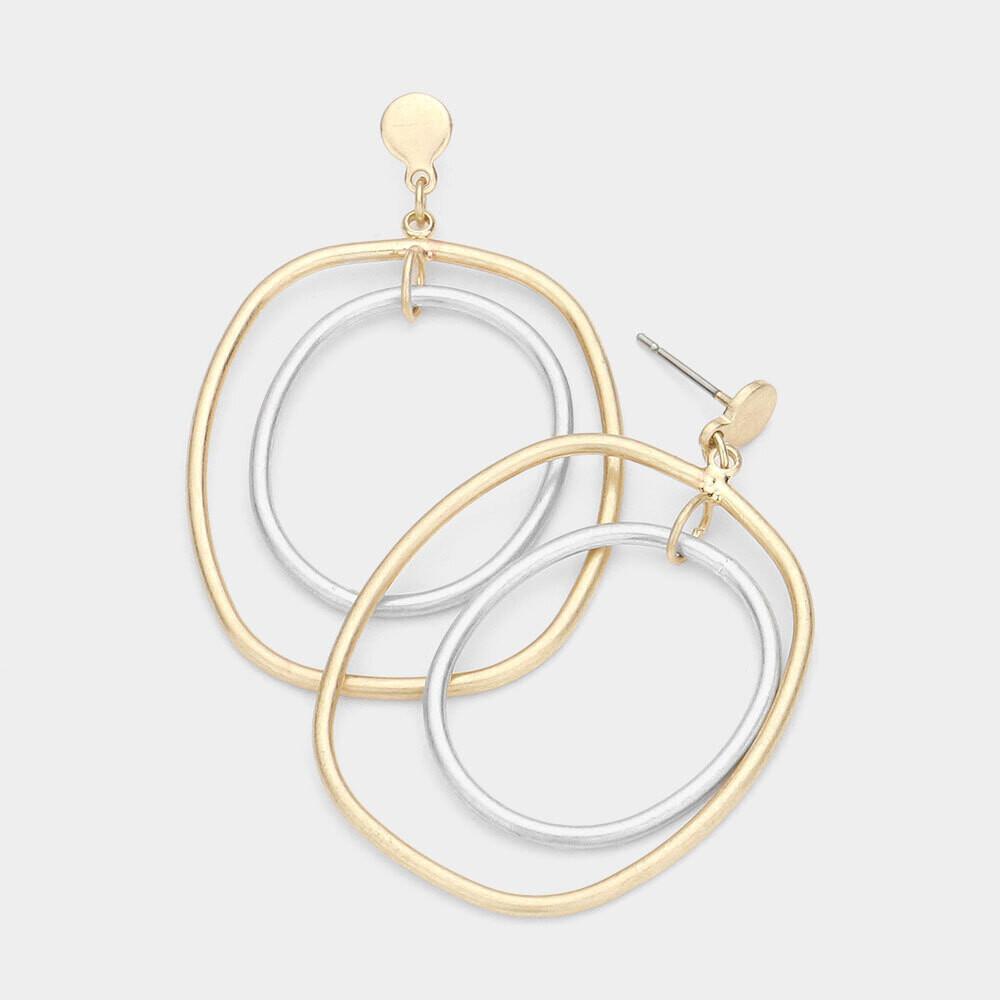 Irregular Double Open Metal Layered Dangle Earrings