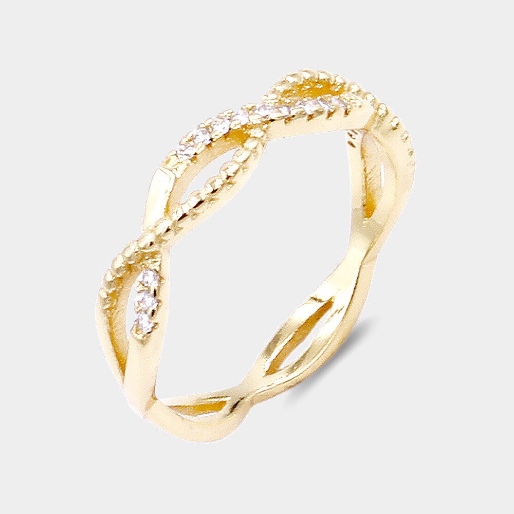 Micro Pave CZ Embellished Braided Metal Ring