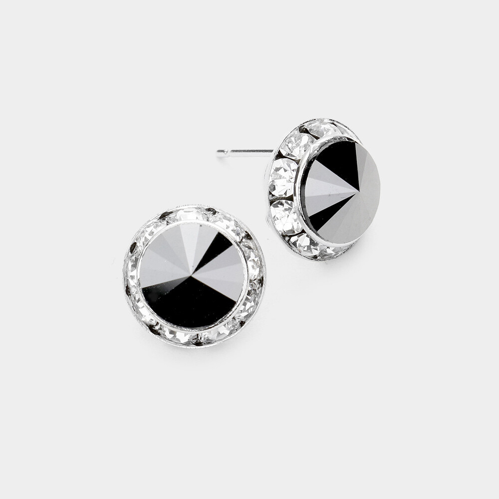 Rivoli Cut Genuine Austrian Crystal Round Stud Ear