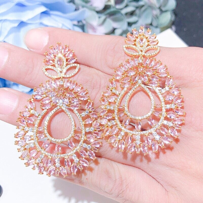 Spectacular Gold Rose Pink Crystal Open Statement Earring