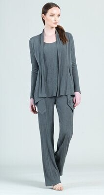 Charcoal Pleated Knit Wide Leg Pocket Pant