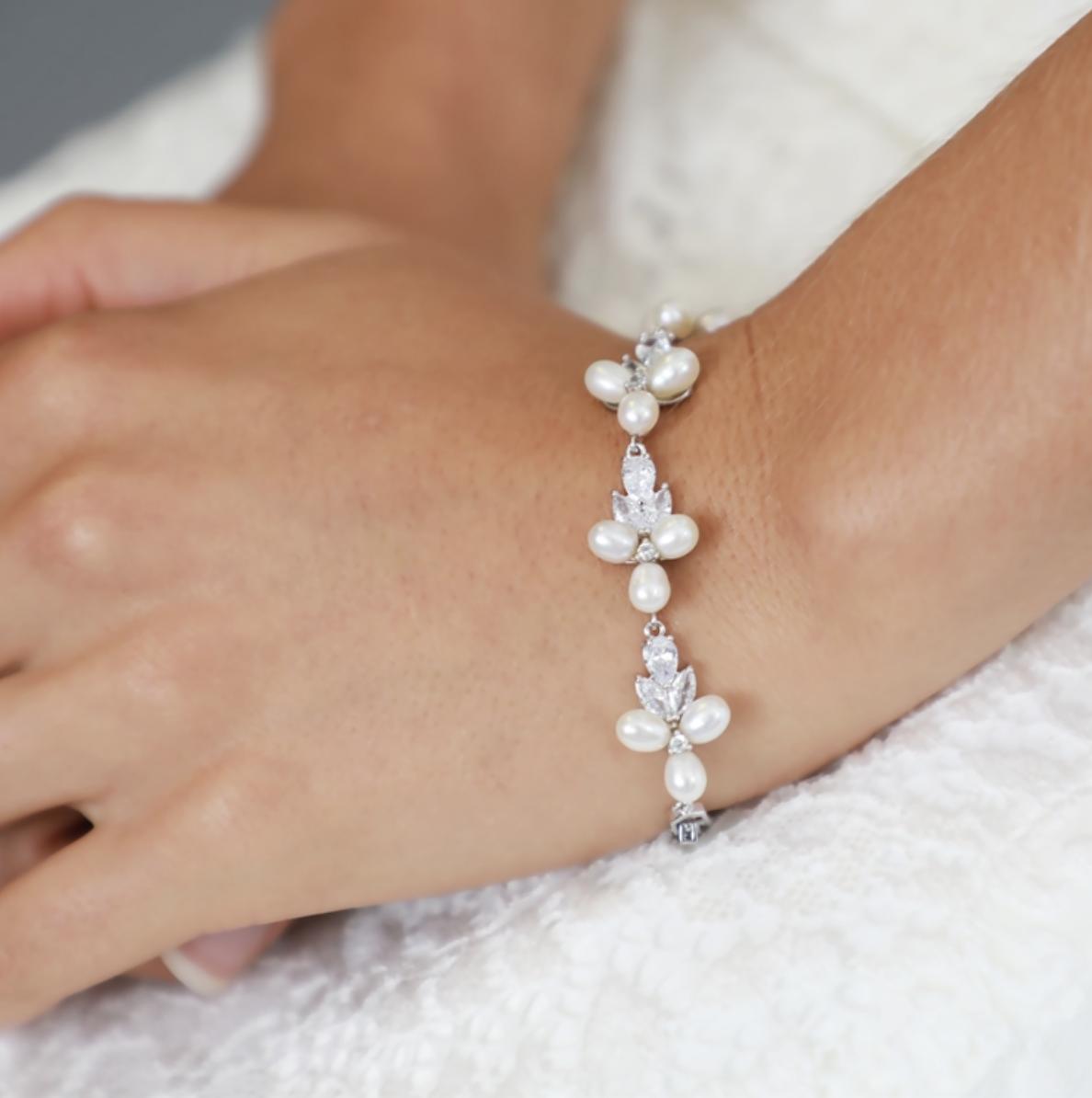 Genuine Freshwater Pearl & CZ Platinum Bracelet