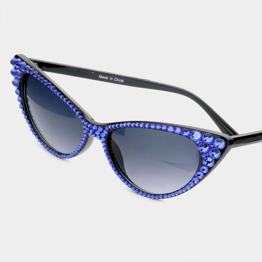 Blue Crystal Cat Eye Sunglasses