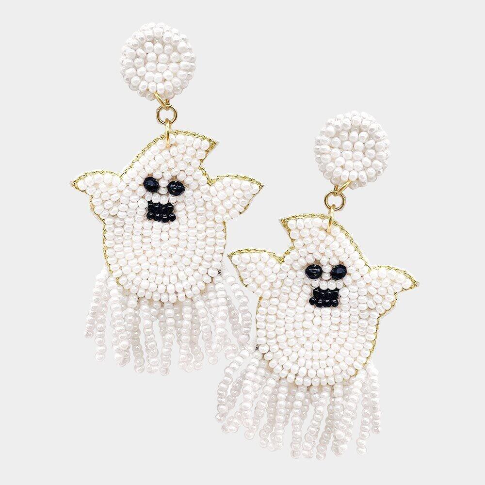 Felt Back Seed Beaded Ghost Dangle Earrings