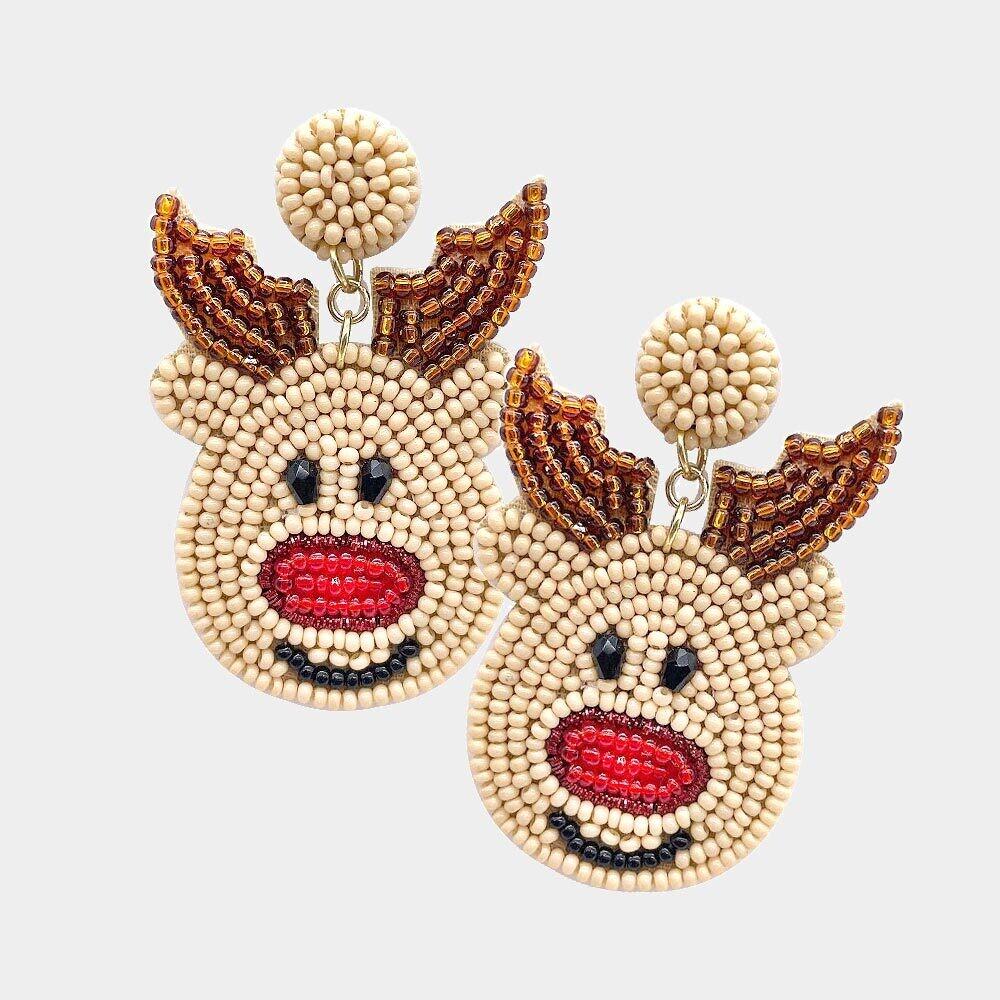 Felt Back Seed Beaded Rudolph Dangle Earrings