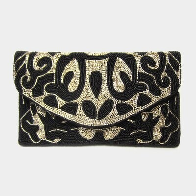 Black Gold Abstract Pattern Seed Beaded Clutch / Crossbody Bag