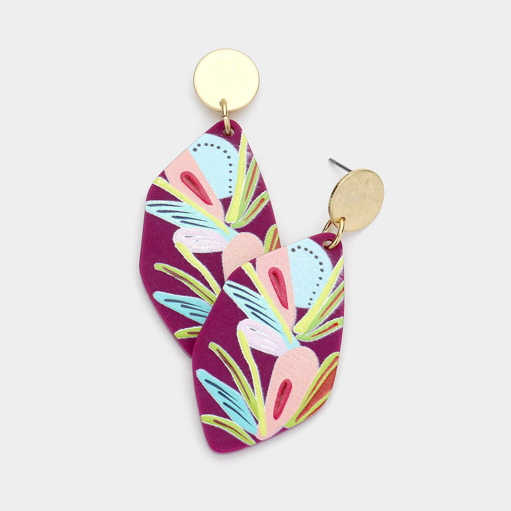 Abstract Printed Irregular Resin Dangle Earings