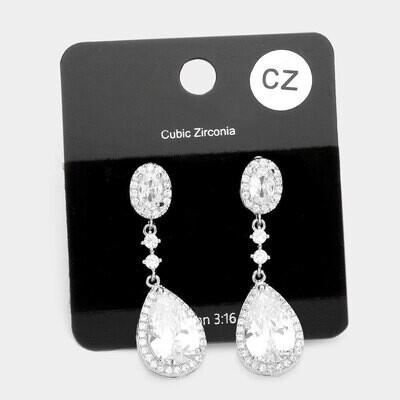 Cubic Zirconia Teardrop Dangle Evening Earrings