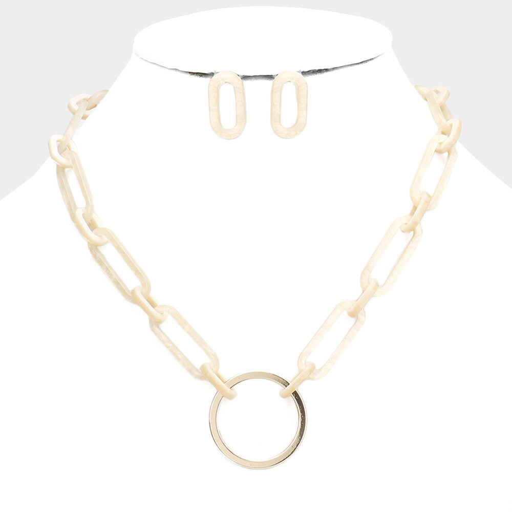 Metal Open Circle Pendant Celluloid Acetate Link Necklace
