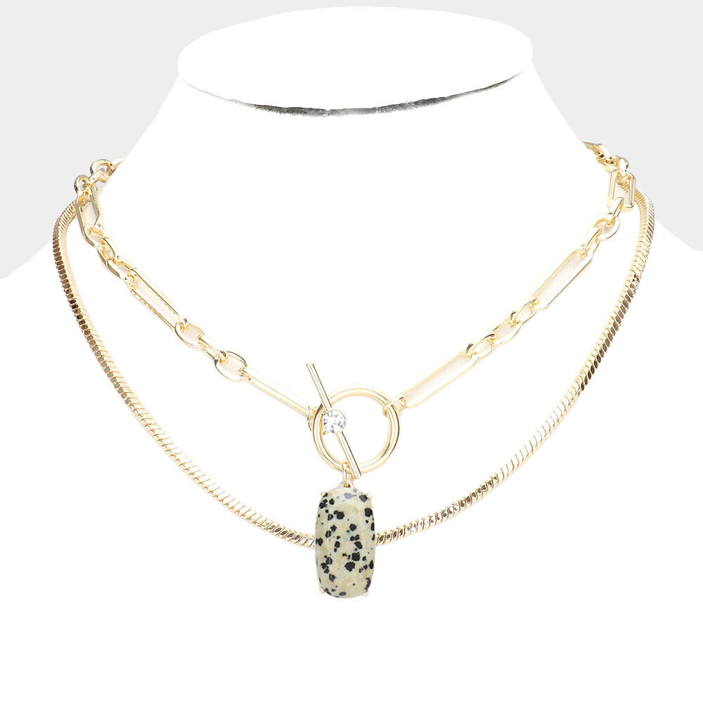 Natural Stone Pendant Double Layered Necklace