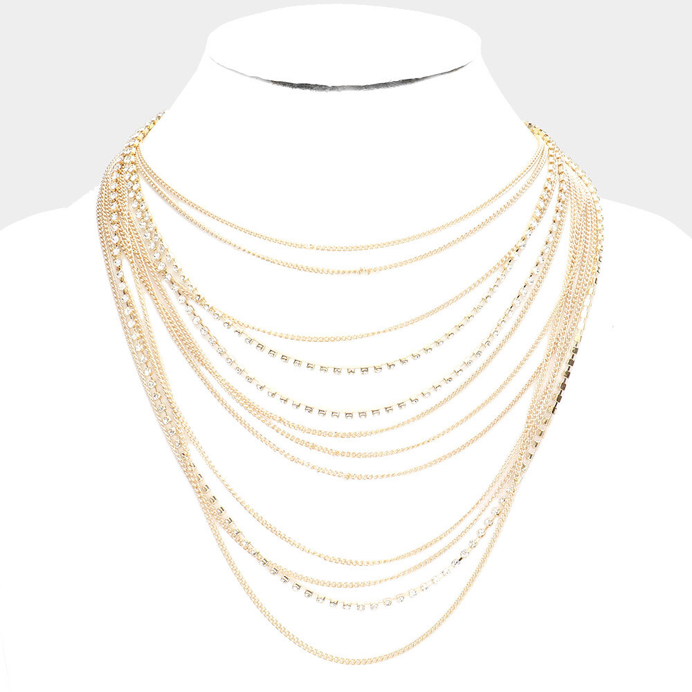 Rhinestone Metal Chain Multi Layered Bib Necklace