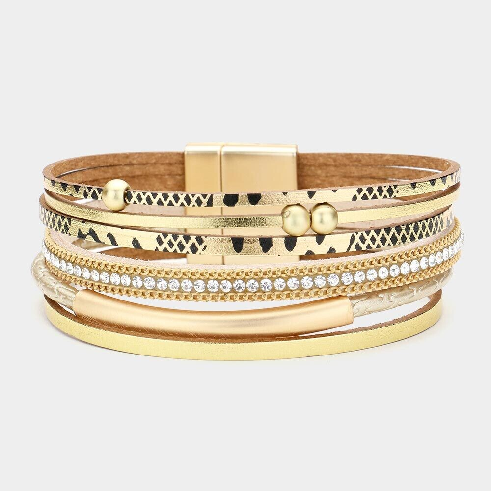 Patterned Faux Leather Magnetic Bracelet