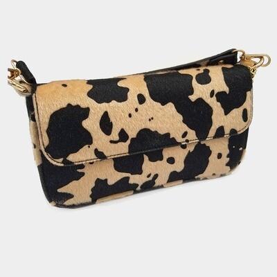 Cow Patterned Faux Leather Shoulder Crossbody Bag