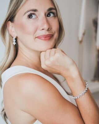 Marquise Cubic Zirconias/Pearl Formal Bracelet