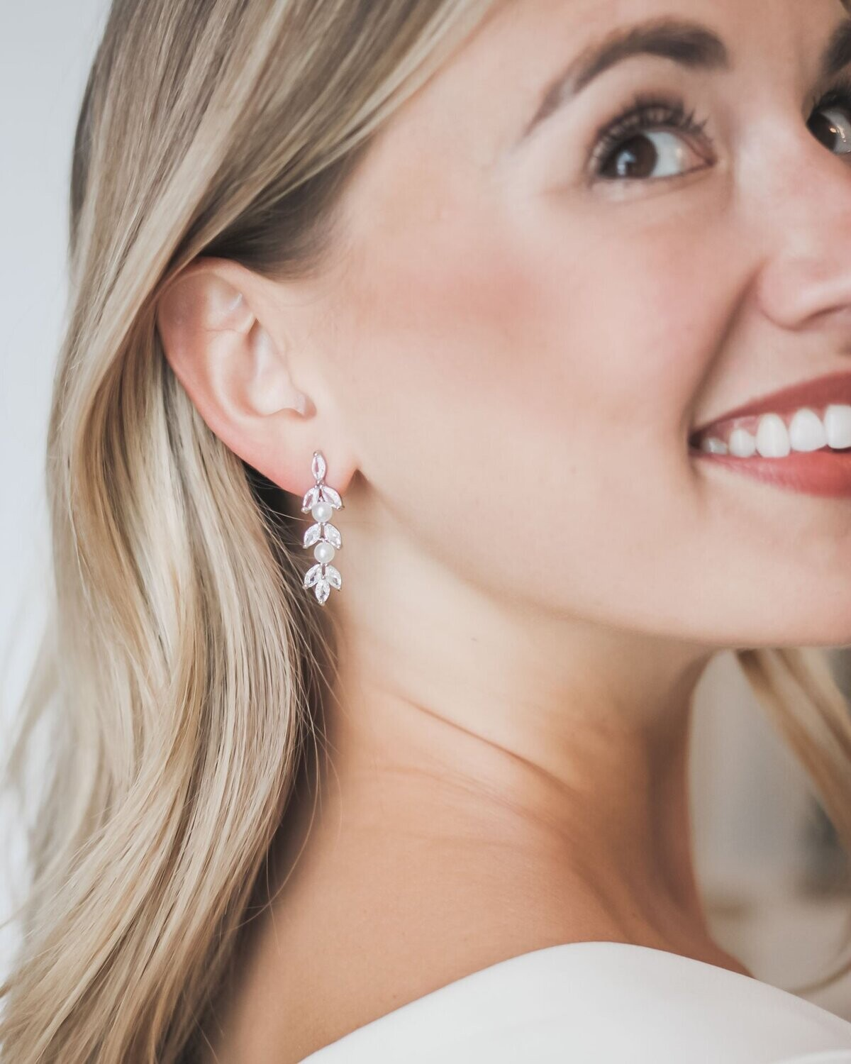 Marquise Cubic Zirconias/Pearl Formal Earring