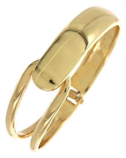 Gold Bar Hinge Open Fashion Bracelet