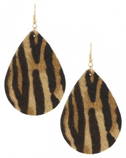 Animal Print Genuine Leather Earring Set