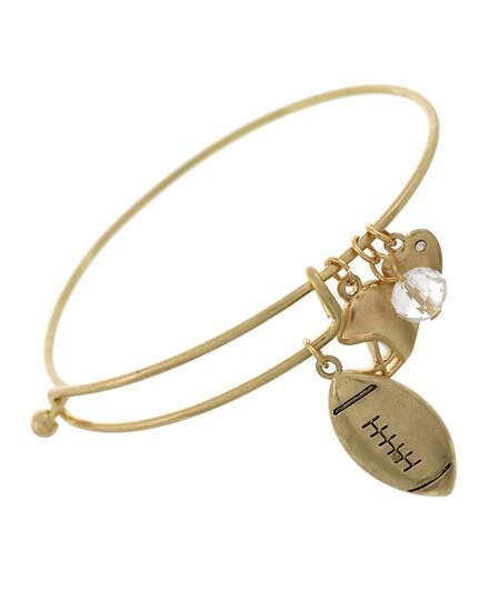 Worn Gold I Love Football Charm Bracelet