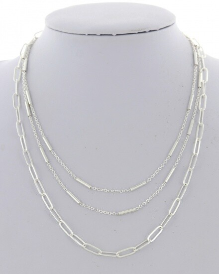 Silver 3 Row Chain Necklace