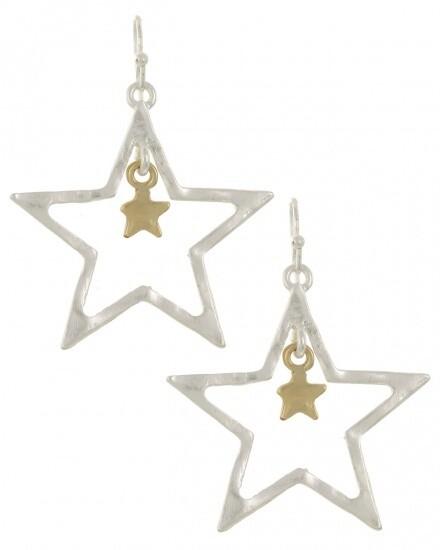 Open Matte Silver Star Dangle Earring Set