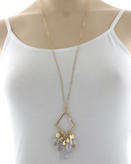 Long Gold Necklace Faux Crystal Drops