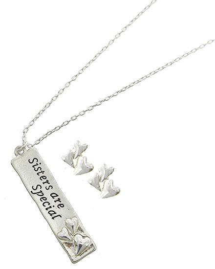 Heart / Love Metal Pendant Necklace & Earring Set