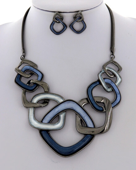 Hematite/Blue Interlocking Squares Necklace Set
