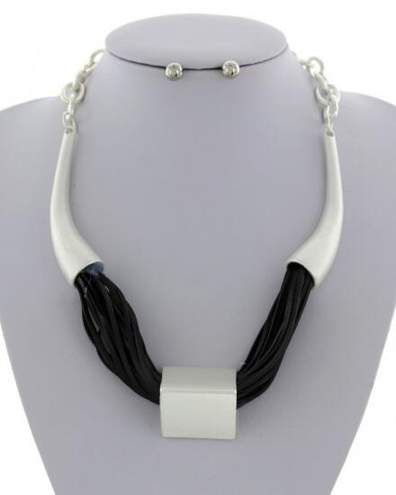 Unique Statement Cord Necklace & Earring Set