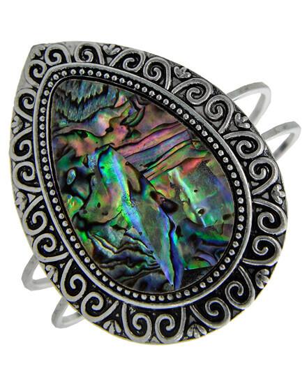 Antique Silver Green Multi Colored Abalone Cuff Bracelet