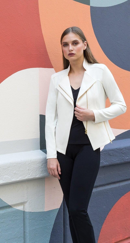 Ivory Liquid Leather Clara Sun Woo Jacket