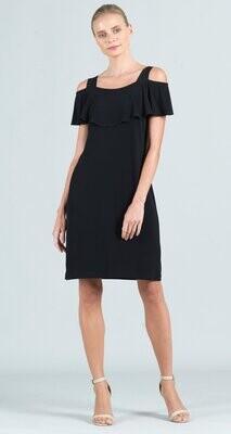 Black Open Shoulder Ruffle Neckline Dress
