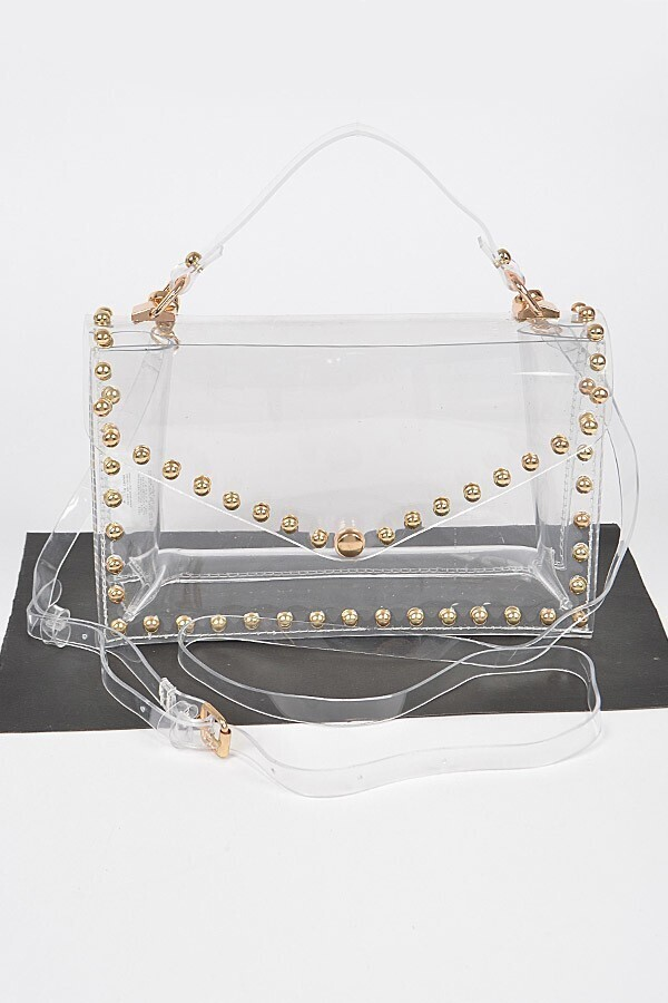 """Round Stud Clear Handle Top 9.2""""Wide Bag"""