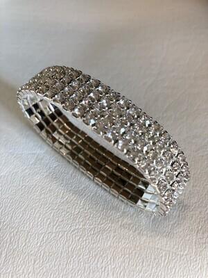 Silver 4 Row Rhinestone Stretch Bracelet