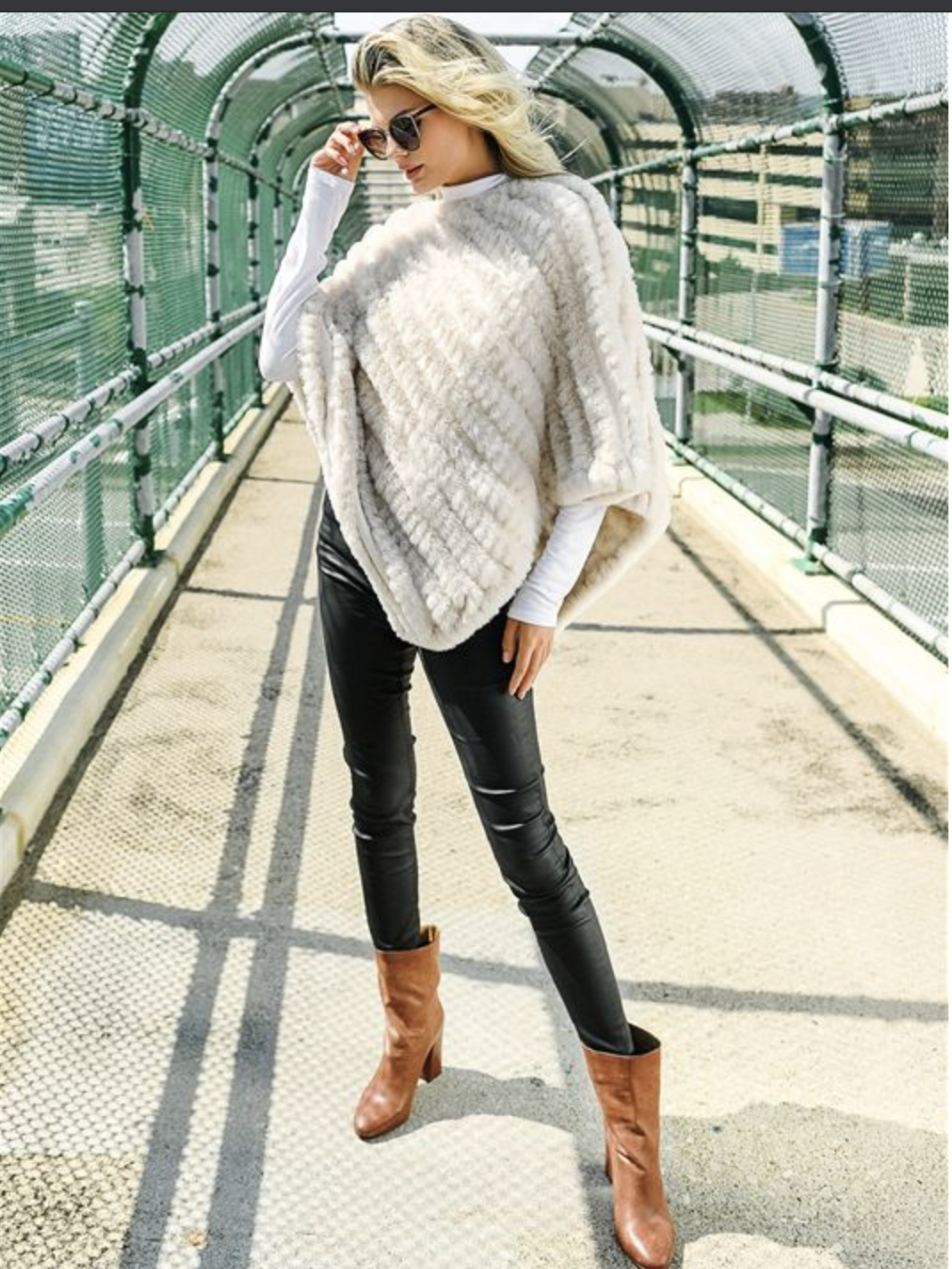 Fabulous Knitted Faux Mink Poncho