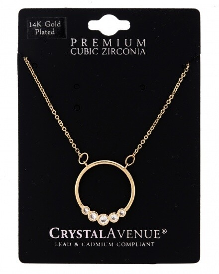 14K Gold Plated Open Ring With Cubic Zirconia Necklace