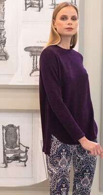 Purple Cozy Twill Hi-Low Scallop Sweater Top