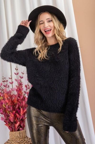 Black Super Soft Cozy Knit Sweater