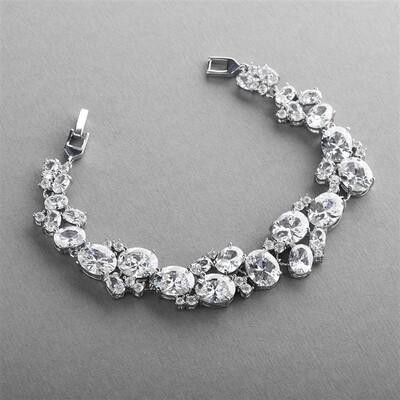 Exquisite CZ Statement Bracelet with Bold Oval Cut Zirconium