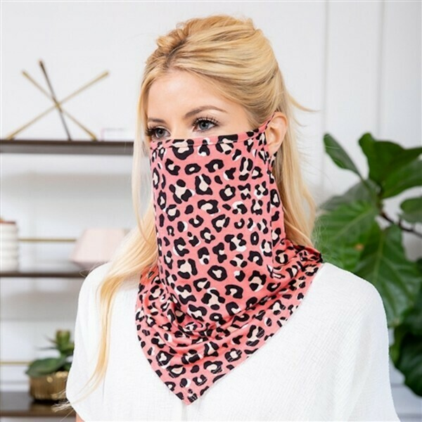 Leopard Print Face Shield Mask with Ear Loops
