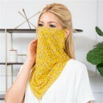 Mustard Floral Print Face Shield Mask with Ear Loops