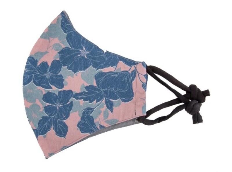 Reusable Pink & Blue Floral Print Face Mask