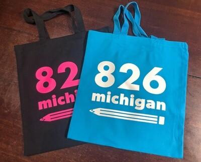 826michigan NEW pencil logo tote
