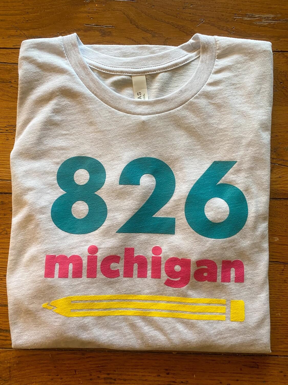 826michigan NEW pencil logo Adult T-shirt