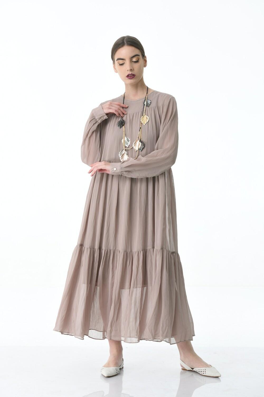 Crinkled Tan dress