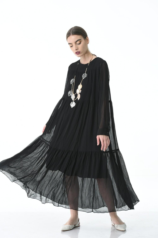 Crinkled Black dress